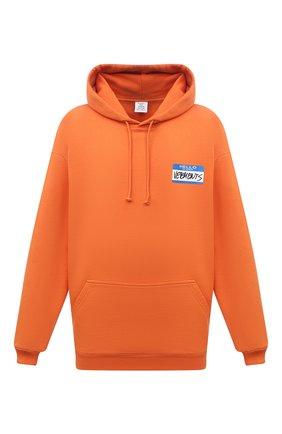 Мужской хлопковое худи VETEMENTS оранжевого цвета, арт. UA52TR710X 1601/M | Фото 1