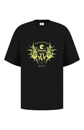 Мужская хлопковая футболка VETEMENTS черного цвета, арт. UA52TR480X 1610/M | Фото 1