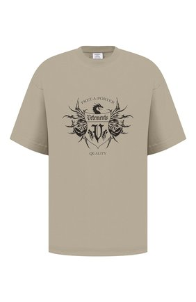 Мужская хлопковая футболка VETEMENTS хаки цвета, арт. UA52TR480G 1610/M | Фото 1