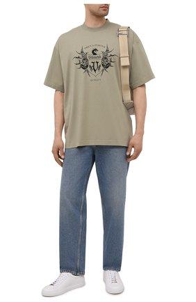 Мужская хлопковая футболка VETEMENTS хаки цвета, арт. UA52TR480G 1610/M | Фото 2