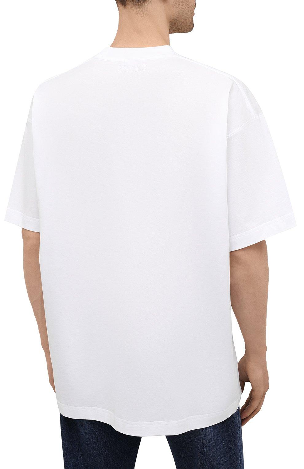 Мужская хлопковая футболка VETEMENTS белого цвета, арт. UA52TR290R 1611/M   Фото 4 (Рукава: Короткие; Длина (для топов): Стандартные; Стили: Гранж; Принт: С принтом; Материал внешний: Хлопок)
