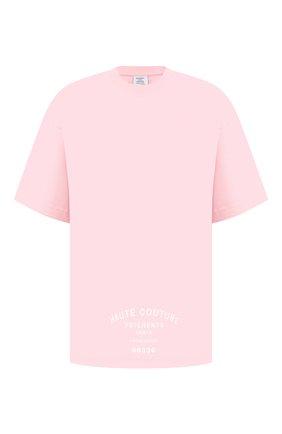 Мужская хлопковая футболка VETEMENTS розового цвета, арт. UA52TR270P 1610/M | Фото 1