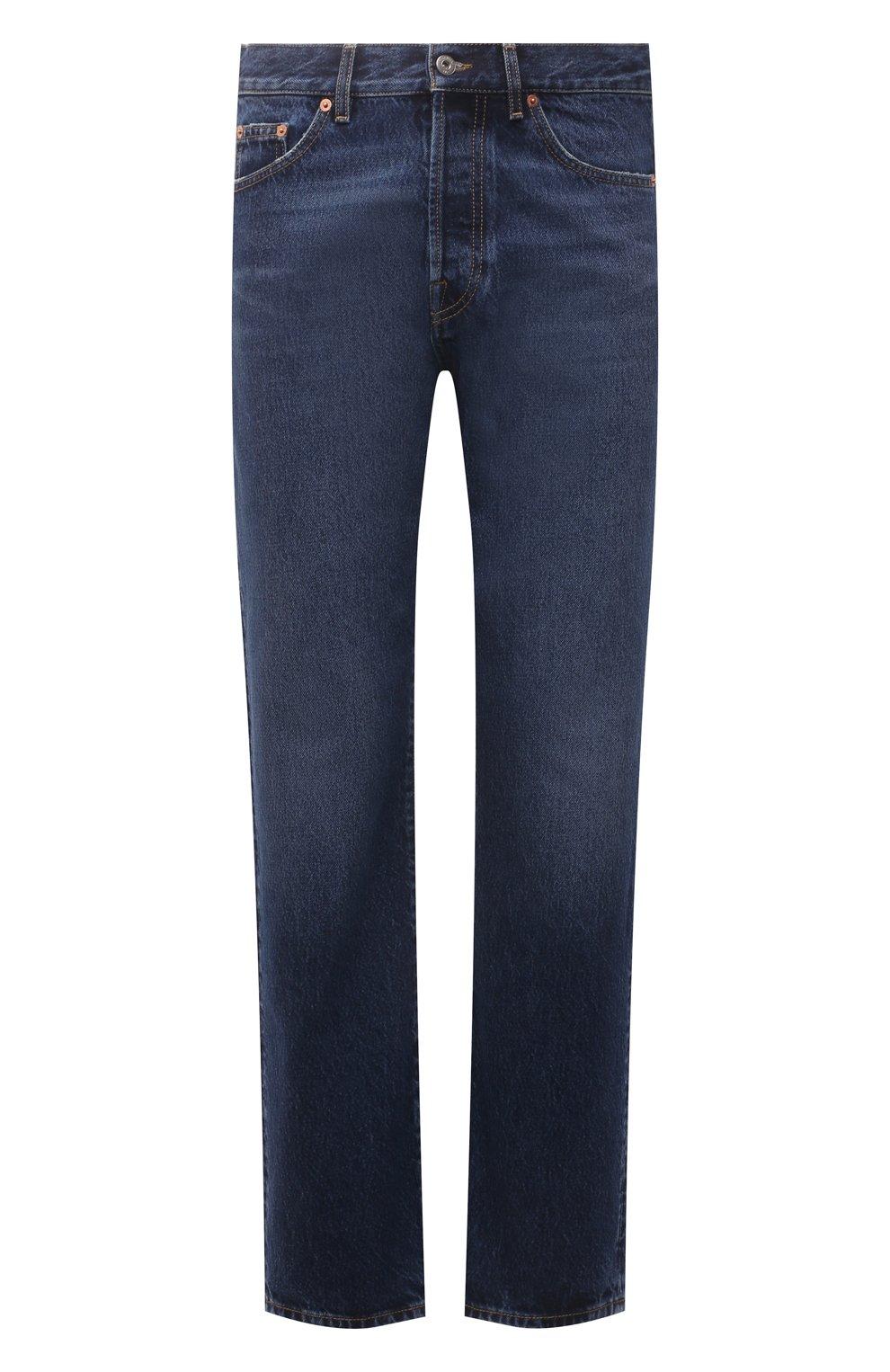 Мужские джинсы VALENTINO темно-синего цвета, арт. WV3DE01T7LE | Фото 1 (Силуэт М (брюки): Прямые; Длина (брюки, джинсы): Стандартные; Материал внешний: Хлопок, Деним; Стили: Кэжуэл)