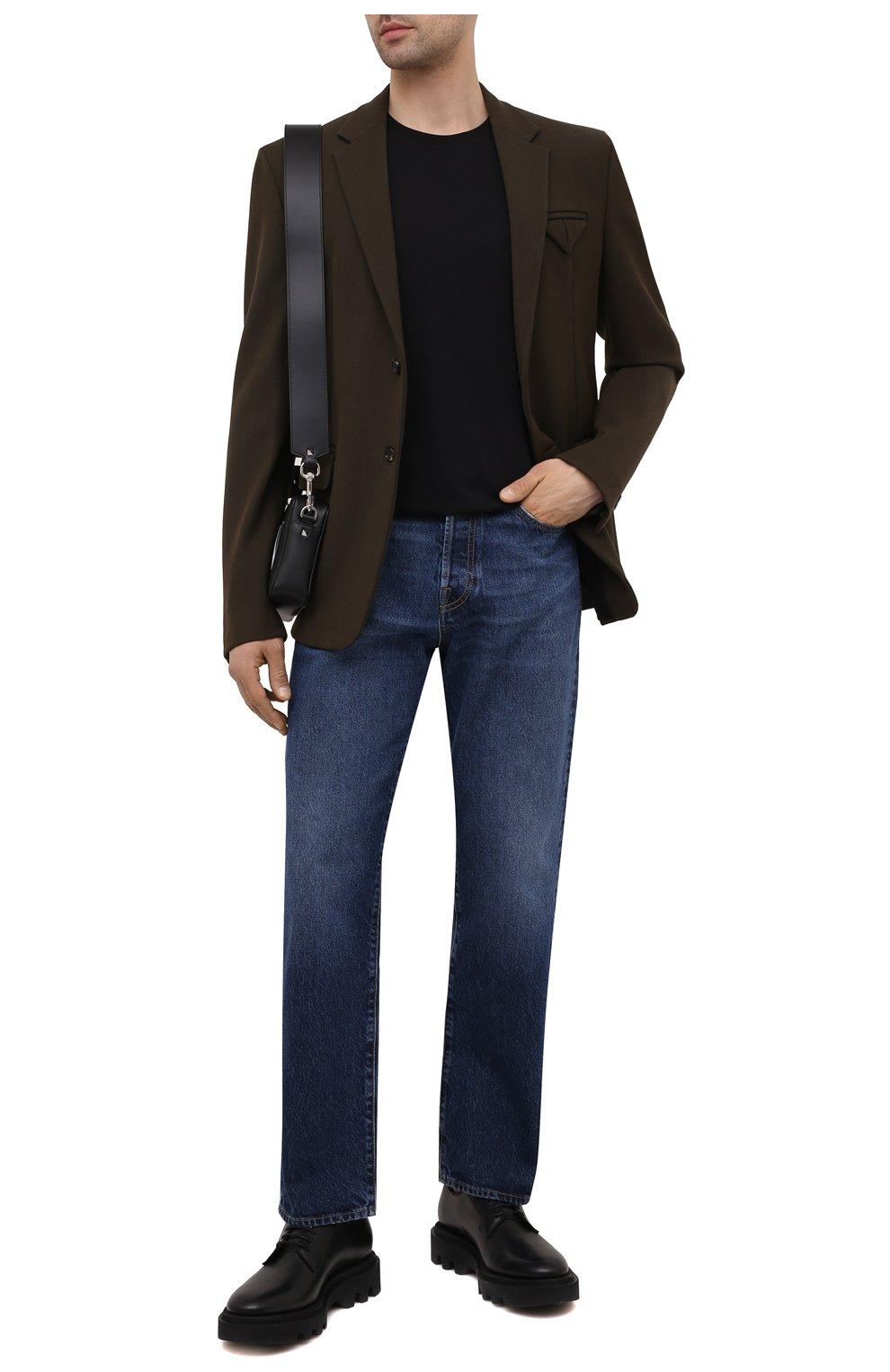 Мужские джинсы VALENTINO темно-синего цвета, арт. WV3DE01T7LE | Фото 2 (Силуэт М (брюки): Прямые; Длина (брюки, джинсы): Стандартные; Материал внешний: Хлопок, Деним; Стили: Кэжуэл)