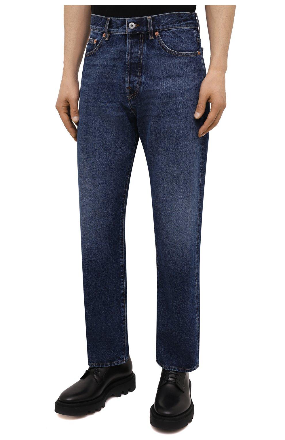 Мужские джинсы VALENTINO темно-синего цвета, арт. WV3DE01T7LE | Фото 3 (Силуэт М (брюки): Прямые; Длина (брюки, джинсы): Стандартные; Материал внешний: Хлопок, Деним; Стили: Кэжуэл)