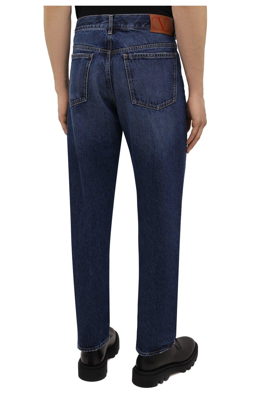 Мужские джинсы VALENTINO темно-синего цвета, арт. WV3DE01T7LE | Фото 4 (Силуэт М (брюки): Прямые; Длина (брюки, джинсы): Стандартные; Материал внешний: Хлопок, Деним; Стили: Кэжуэл)