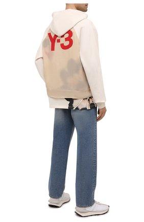 Мужской хлопковое худи Y-3 бежевого цвета, арт. GV6090/M | Фото 2 (Длина (для топов): Стандартные; Материал внешний: Хлопок; Мужское Кросс-КТ: Худи-одежда; Рукава: Длинные; Стили: Спорт-шик; Принт: С принтом)
