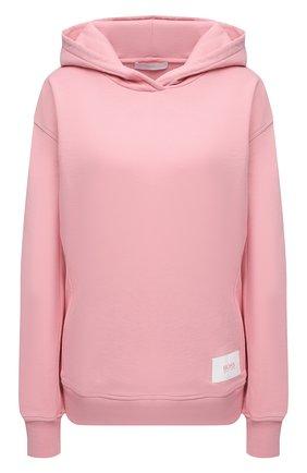 Женский хлопковое худи BOSS розового цвета, арт. 50455881 | Фото 1 (Материал внешний: Хлопок; Длина (для топов): Стандартные; Рукава: Длинные; Стили: Спорт-шик; Женское Кросс-КТ: Худи-одежда)