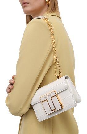 Женская сумка 001 small TOM FORD белого цвета, арт. L1384E-LCL150 | Фото 2 (Размер: small; Сумки-технические: Сумки через плечо; Женское Кросс-КТ: Вечерняя сумка; Ремень/цепочка: С цепочкой, На ремешке; Материал: Натуральная кожа)