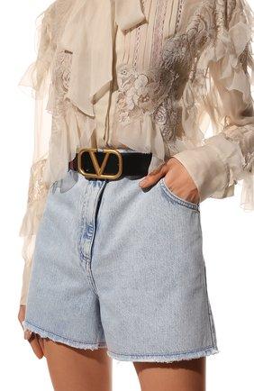 Женский кожаный ремень  VALENTINO черного цвета, арт. WW2T0S11/ZFR | Фото 2