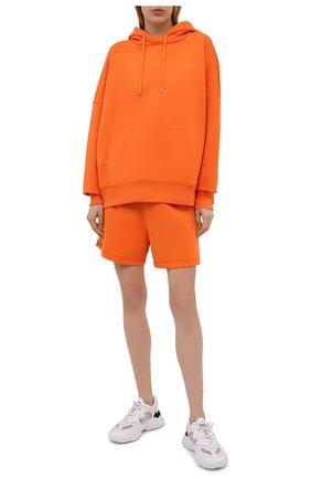 Женские хлопковые шорты HERON PRESTON FOR CALVIN KLEIN оранжевого цвета, арт. K10K108245 | Фото 2 (Женское Кросс-КТ: Шорты-спорт, Шорты-одежда; Материал внешний: Хлопок; Длина Ж (юбки, платья, шорты): Мини)