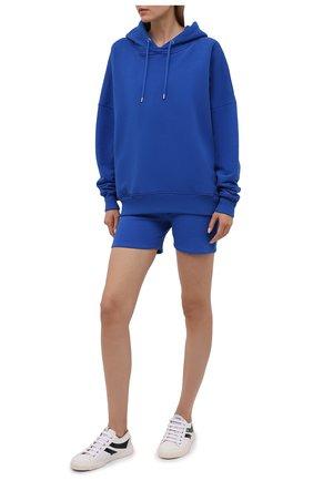 Женский хлопковое худи HERON PRESTON FOR CALVIN KLEIN синего цвета, арт. K10K108247 | Фото 2 (Женское Кросс-КТ: Худи-спорт, Худи-одежда; Длина (для топов): Стандартные; Рукава: Длинные; Материал внешний: Хлопок; Стили: Спорт-шик)