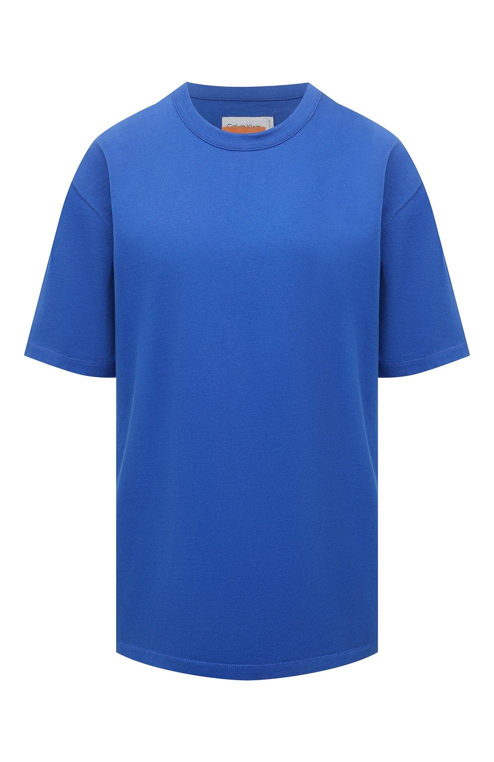 Женская хлопковая футболка HERON PRESTON FOR CALVIN KLEIN синего цвета, арт. K10K108252 | Фото 1 (Женское Кросс-КТ: Футболка-спорт; Принт: Без принта; Рукава: Короткие; Длина (для топов): Стандартные; Материал внешний: Хлопок; Стили: Спорт-шик)