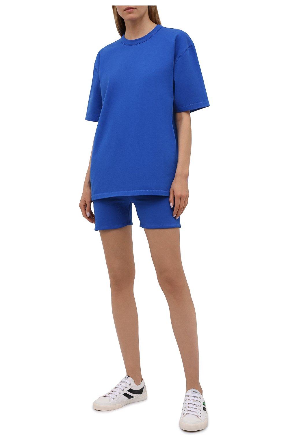 Женская хлопковая футболка HERON PRESTON FOR CALVIN KLEIN синего цвета, арт. K10K108252 | Фото 2 (Женское Кросс-КТ: Футболка-спорт; Принт: Без принта; Рукава: Короткие; Длина (для топов): Стандартные; Материал внешний: Хлопок; Стили: Спорт-шик)