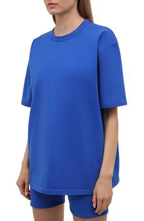 Женская хлопковая футболка HERON PRESTON FOR CALVIN KLEIN синего цвета, арт. K10K108252 | Фото 3 (Женское Кросс-КТ: Футболка-спорт; Принт: Без принта; Рукава: Короткие; Длина (для топов): Стандартные; Материал внешний: Хлопок; Стили: Спорт-шик)