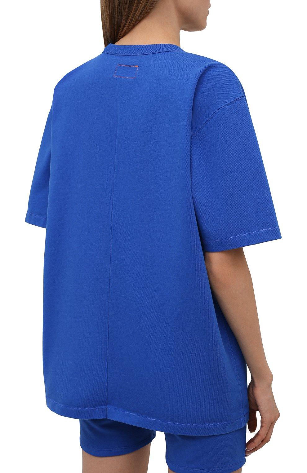 Женская хлопковая футболка HERON PRESTON FOR CALVIN KLEIN синего цвета, арт. K10K108252 | Фото 4 (Женское Кросс-КТ: Футболка-спорт; Принт: Без принта; Рукава: Короткие; Длина (для топов): Стандартные; Материал внешний: Хлопок; Стили: Спорт-шик)