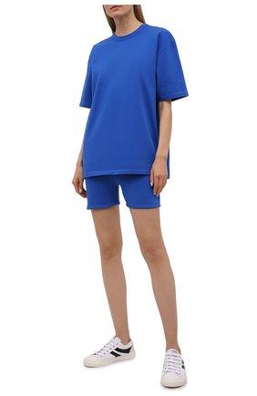 Женские хлопковые шорты HERON PRESTON FOR CALVIN KLEIN синего цвета, арт. K20K203538 | Фото 2 (Женское Кросс-КТ: Шорты-спорт, Шорты-одежда; Длина Ж (юбки, платья, шорты): Мини; Стили: Спорт-шик; Материал внешний: Хлопок)