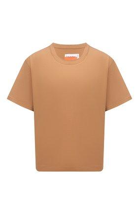 Женская хлопковая футболка HERON PRESTON FOR CALVIN KLEIN коричневого цвета, арт. K20K203539 | Фото 1 (Рукава: Короткие; Принт: Без принта; Стили: Спорт-шик; Женское Кросс-КТ: Футболка-спорт; Длина (для топов): Стандартные; Материал внешний: Хлопок)