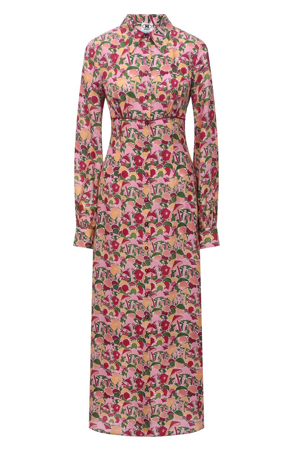 Женское платье из вискозы и шелка M MISSONI разноцветного цвета, арт. 2DG00545/2W0070 | Фото 1 (Женское Кросс-КТ: платье-рубашка, Платье-одежда; Материал внешний: Шелк, Вискоза; Рукава: Длинные; Случай: Повседневный; Длина Ж (юбки, платья, шорты): Миди; Стили: Бохо)