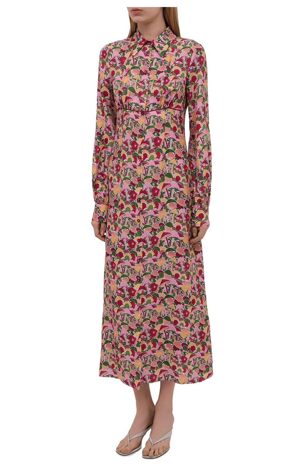 Женское платье из вискозы и шелка M MISSONI разноцветного цвета, арт. 2DG00545/2W0070 | Фото 3 (Женское Кросс-КТ: платье-рубашка, Платье-одежда; Материал внешний: Шелк, Вискоза; Рукава: Длинные; Случай: Повседневный; Длина Ж (юбки, платья, шорты): Миди; Стили: Бохо)