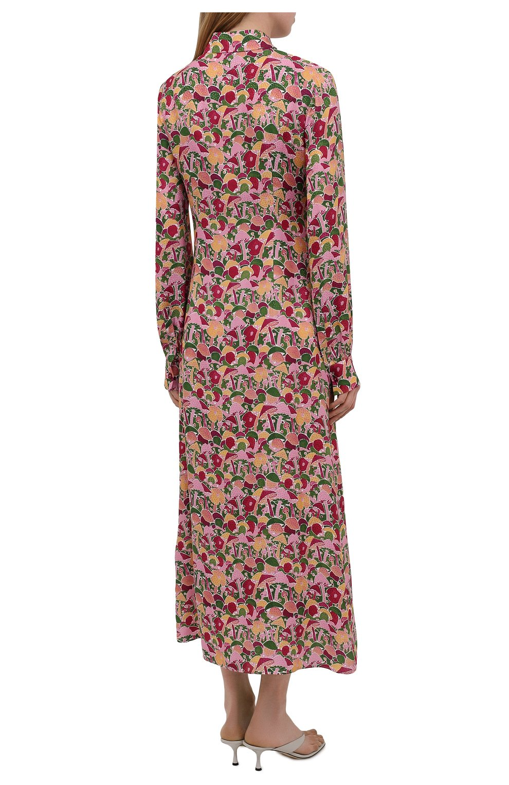 Женское платье из вискозы и шелка M MISSONI разноцветного цвета, арт. 2DG00545/2W0070 | Фото 4 (Женское Кросс-КТ: платье-рубашка, Платье-одежда; Материал внешний: Шелк, Вискоза; Рукава: Длинные; Случай: Повседневный; Длина Ж (юбки, платья, шорты): Миди; Стили: Бохо)