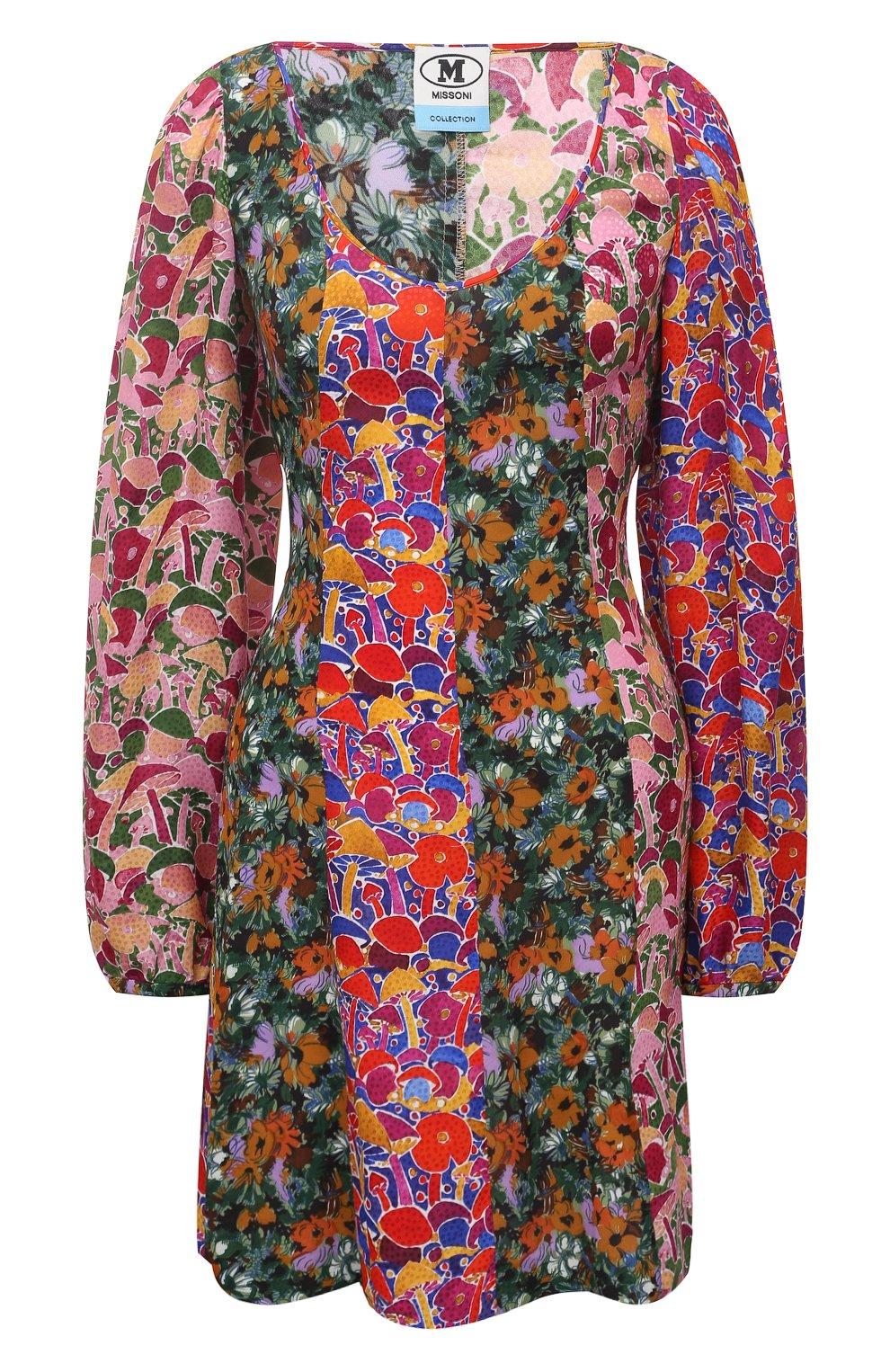 Женское платье из вискозы M MISSONI разноцветного цвета, арт. 2DG00550/2W0077 | Фото 1 (Рукава: Длинные; Длина Ж (юбки, платья, шорты): Мини; Случай: Повседневный; Материал внешний: Вискоза; Стили: Бохо; Женское Кросс-КТ: Платье-одежда)