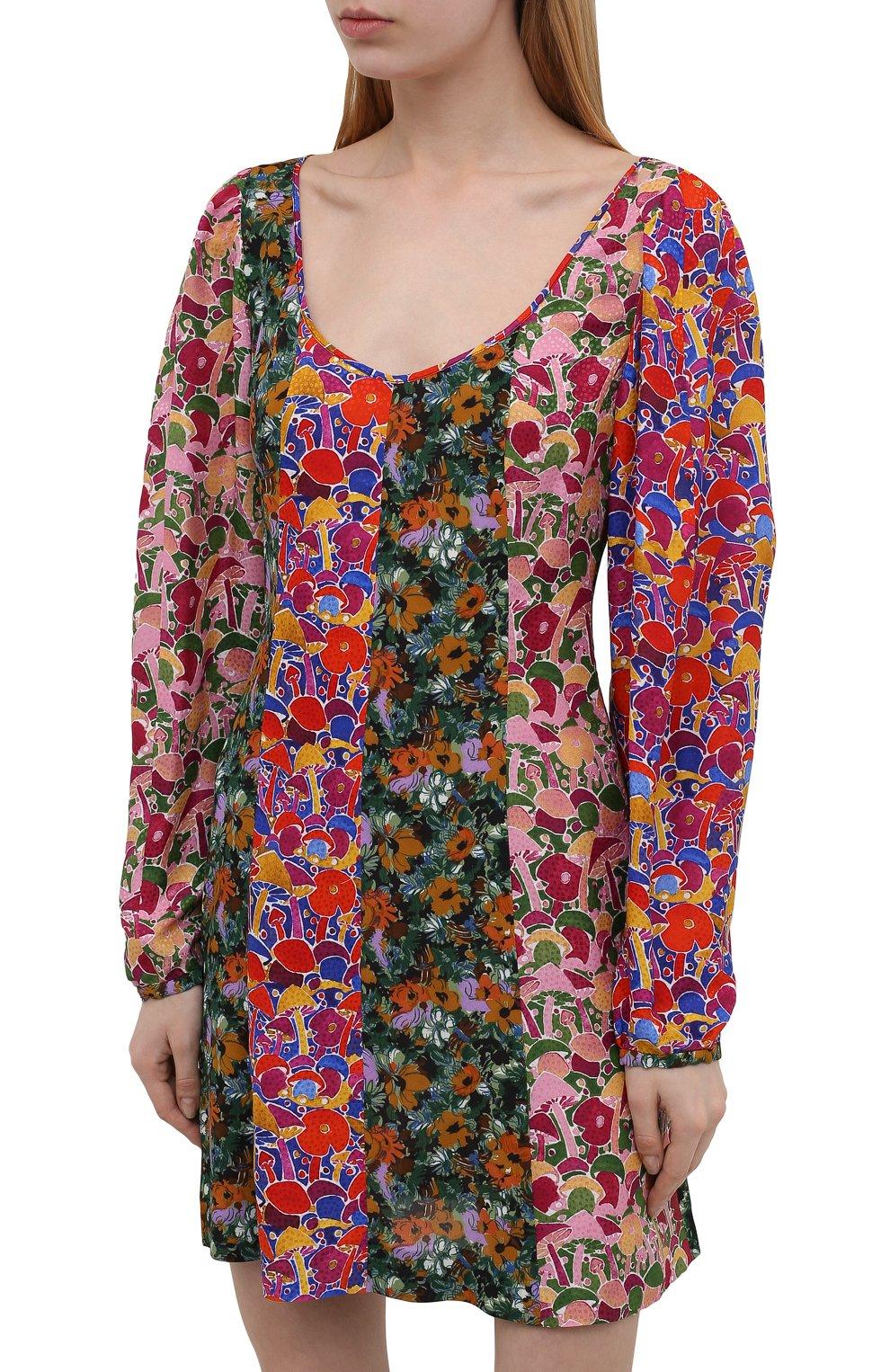 Женское платье из вискозы M MISSONI разноцветного цвета, арт. 2DG00550/2W0077 | Фото 3 (Рукава: Длинные; Длина Ж (юбки, платья, шорты): Мини; Случай: Повседневный; Материал внешний: Вискоза; Стили: Бохо; Женское Кросс-КТ: Платье-одежда)