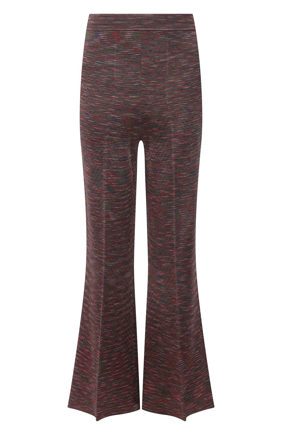 Женские брюки из вискозы и хлопка M MISSONI разноцветного цвета, арт. 2DI00271/2K008B | Фото 1 (Длина (брюки, джинсы): Стандартные; Женское Кросс-КТ: Брюки-одежда; Кросс-КТ: Трикотаж; Силуэт Ж (брюки и джинсы): Расклешенные; Материал внешний: Хлопок, Вискоза; Стили: Бохо)