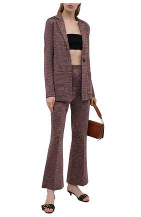 Женские брюки из вискозы и хлопка M MISSONI разноцветного цвета, арт. 2DI00271/2K008B | Фото 2 (Длина (брюки, джинсы): Стандартные; Женское Кросс-КТ: Брюки-одежда; Кросс-КТ: Трикотаж; Силуэт Ж (брюки и джинсы): Расклешенные; Материал внешний: Хлопок, Вискоза; Стили: Бохо)