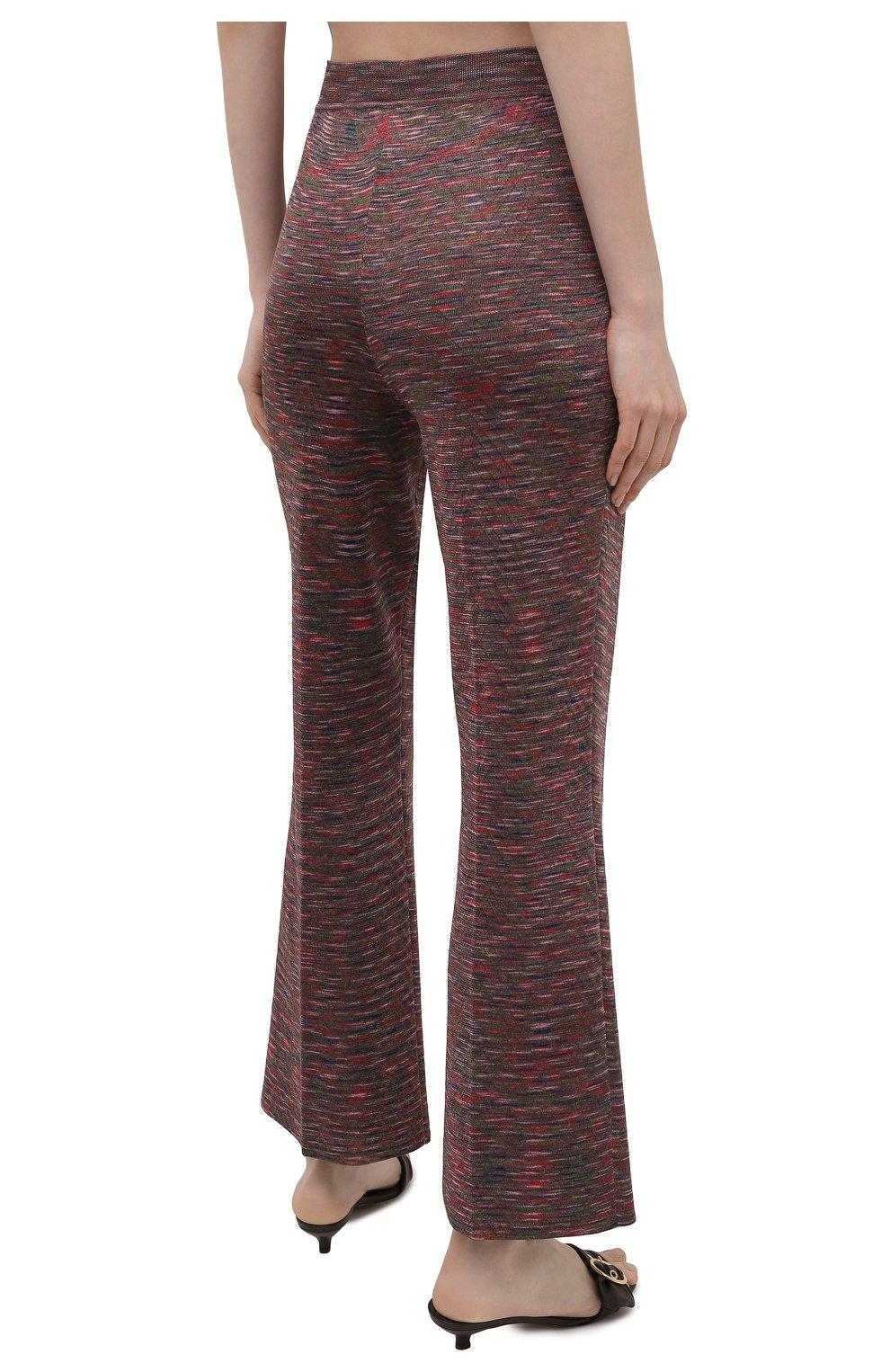 Женские брюки из вискозы и хлопка M MISSONI разноцветного цвета, арт. 2DI00271/2K008B | Фото 4 (Длина (брюки, джинсы): Стандартные; Женское Кросс-КТ: Брюки-одежда; Кросс-КТ: Трикотаж; Силуэт Ж (брюки и джинсы): Расклешенные; Материал внешний: Хлопок, Вискоза; Стили: Бохо)