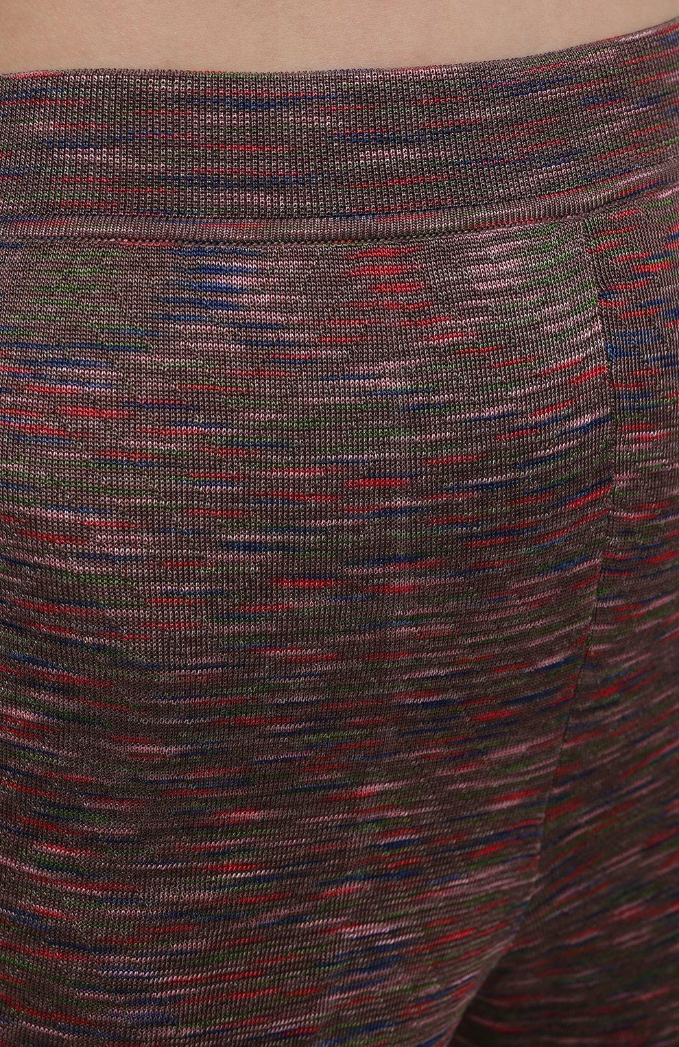 Женские брюки из вискозы и хлопка M MISSONI разноцветного цвета, арт. 2DI00271/2K008B | Фото 5 (Длина (брюки, джинсы): Стандартные; Женское Кросс-КТ: Брюки-одежда; Кросс-КТ: Трикотаж; Силуэт Ж (брюки и джинсы): Расклешенные; Материал внешний: Хлопок, Вискоза; Стили: Бохо)