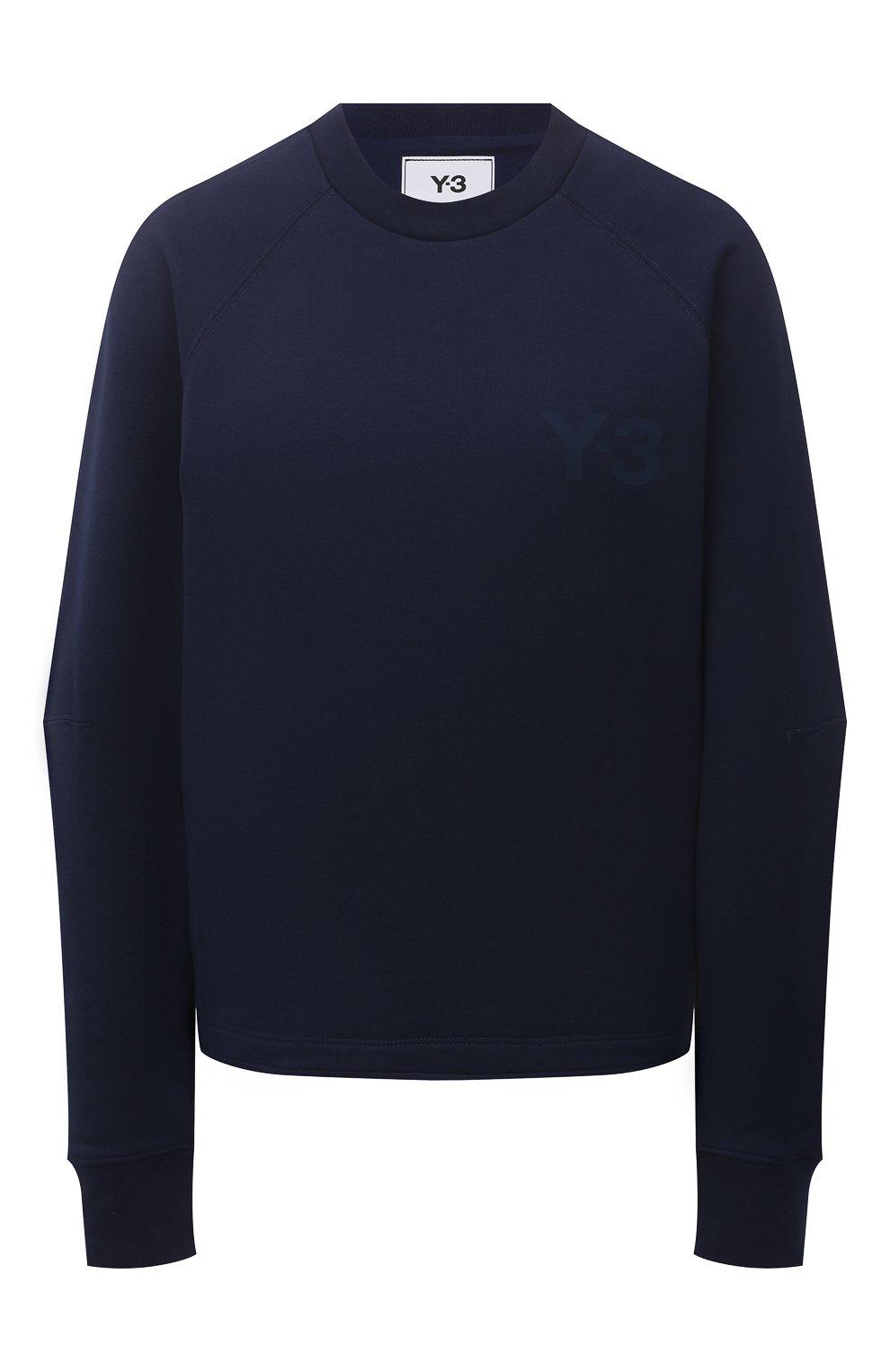 Женский свитшот Y-3 темно-синего цвета, арт. GV0339/W | Фото 1 (Рукава: Длинные; Длина (для топов): Стандартные; Женское Кросс-КТ: Свитшот-спорт, Свитшот-одежда; Материал внешний: Хлопок; Стили: Спорт-шик)