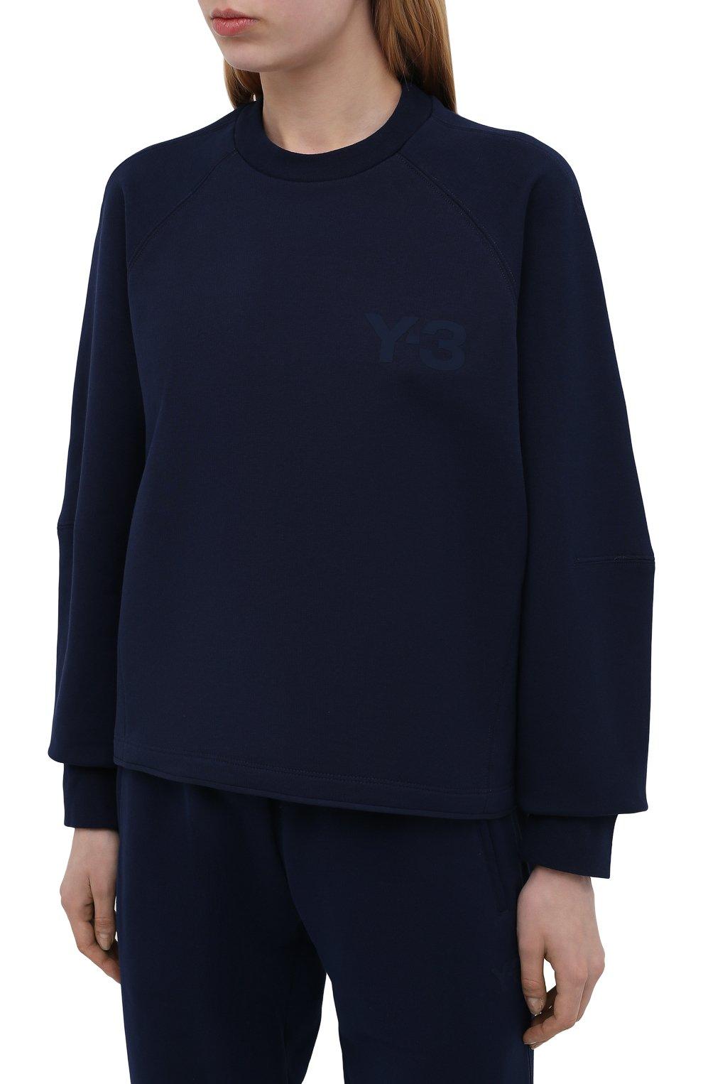 Женский свитшот Y-3 темно-синего цвета, арт. GV0339/W | Фото 3 (Рукава: Длинные; Длина (для топов): Стандартные; Женское Кросс-КТ: Свитшот-спорт, Свитшот-одежда; Материал внешний: Хлопок; Стили: Спорт-шик)