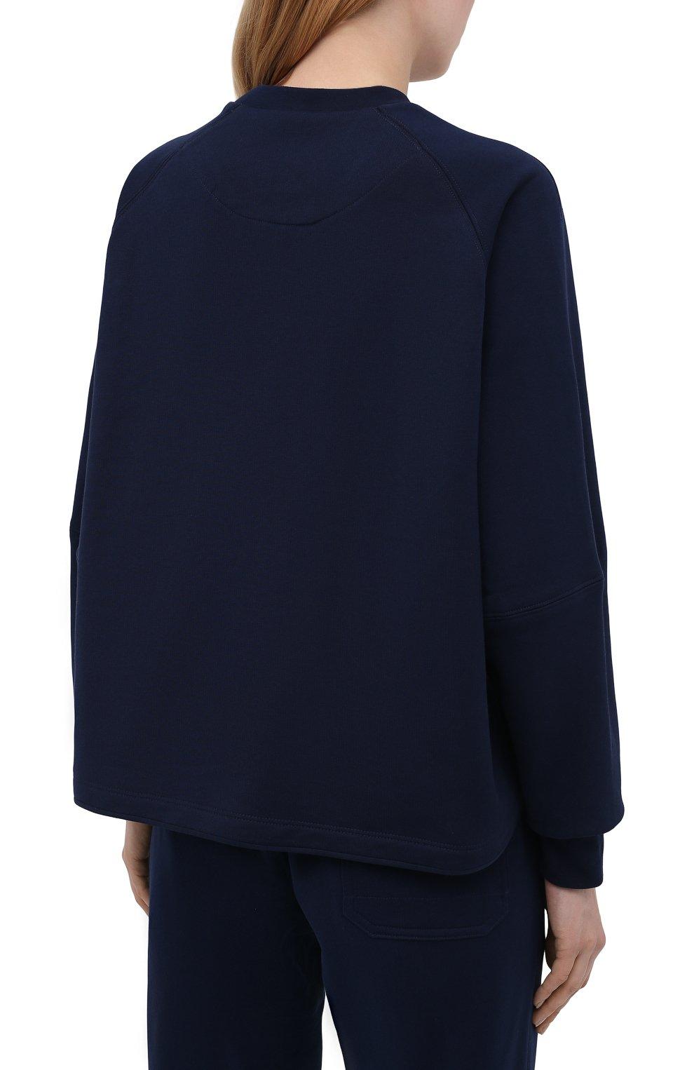 Женский свитшот Y-3 темно-синего цвета, арт. GV0339/W | Фото 4 (Рукава: Длинные; Длина (для топов): Стандартные; Женское Кросс-КТ: Свитшот-спорт, Свитшот-одежда; Материал внешний: Хлопок; Стили: Спорт-шик)