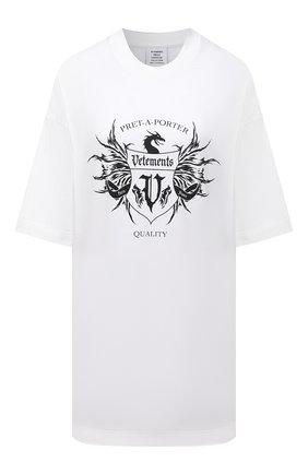 Женская хлопковая футболка VETEMENTS белого цвета, арт. UA52TR480W 1610/W   Фото 1