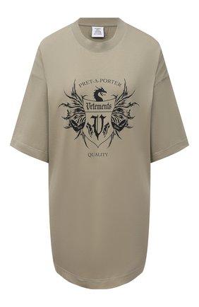 Женская хлопковая футболка VETEMENTS хаки цвета, арт. UA52TR480G 1610/W | Фото 1