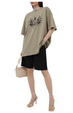 Женская хлопковая футболка VETEMENTS хаки цвета, арт. UA52TR480G 1610/W | Фото 2