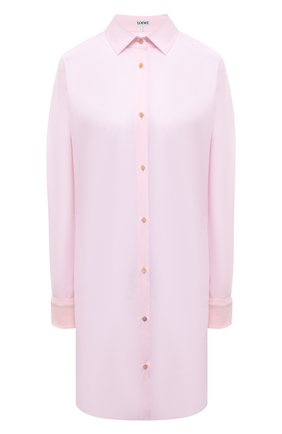 Женская хлопковая рубашка LOEWE светло-розового цвета, арт. S540Y06X19 | Фото 1 (Материал внешний: Хлопок; Рукава: Длинные; Стили: Бохо; Длина (для топов): Удлиненные; Женское Кросс-КТ: Рубашка-одежда; Принт: Без принта)