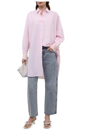 Женская хлопковая рубашка LOEWE светло-розового цвета, арт. S540Y06X19 | Фото 2 (Материал внешний: Хлопок; Рукава: Длинные; Стили: Бохо; Длина (для топов): Удлиненные; Женское Кросс-КТ: Рубашка-одежда; Принт: Без принта)