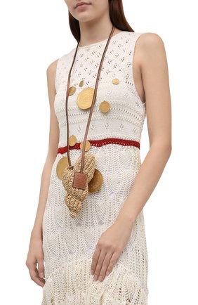 Женская сумка tulip shell mini loewe x paula's ibiza LOEWE бежевого цвета, арт. C899T85X01 | Фото 2 (Сумки-технические: Сумки через плечо; Материал: Растительное волокно; Размер: mini; Ремень/цепочка: На ремешке)