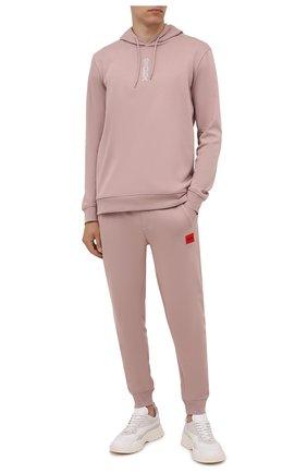 Мужские хлопковые джоггеры HUGO розового цвета, арт. 50447963 | Фото 2