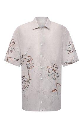 Мужская льняная рубашка CORTIGIANI бежевого цвета, арт. 115620/0000/60-70 | Фото 1