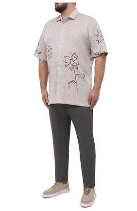 Мужская льняная рубашка CORTIGIANI бежевого цвета, арт. 115620/0000/60-70 | Фото 2