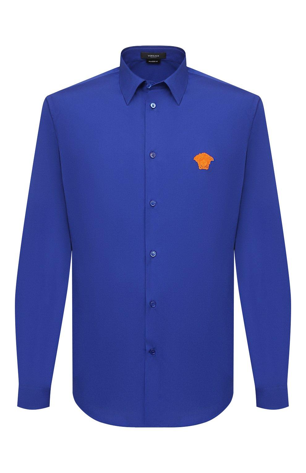 Мужская хлопковая рубашка VERSACE темно-синего цвета, арт. A89273/A232105 | Фото 1
