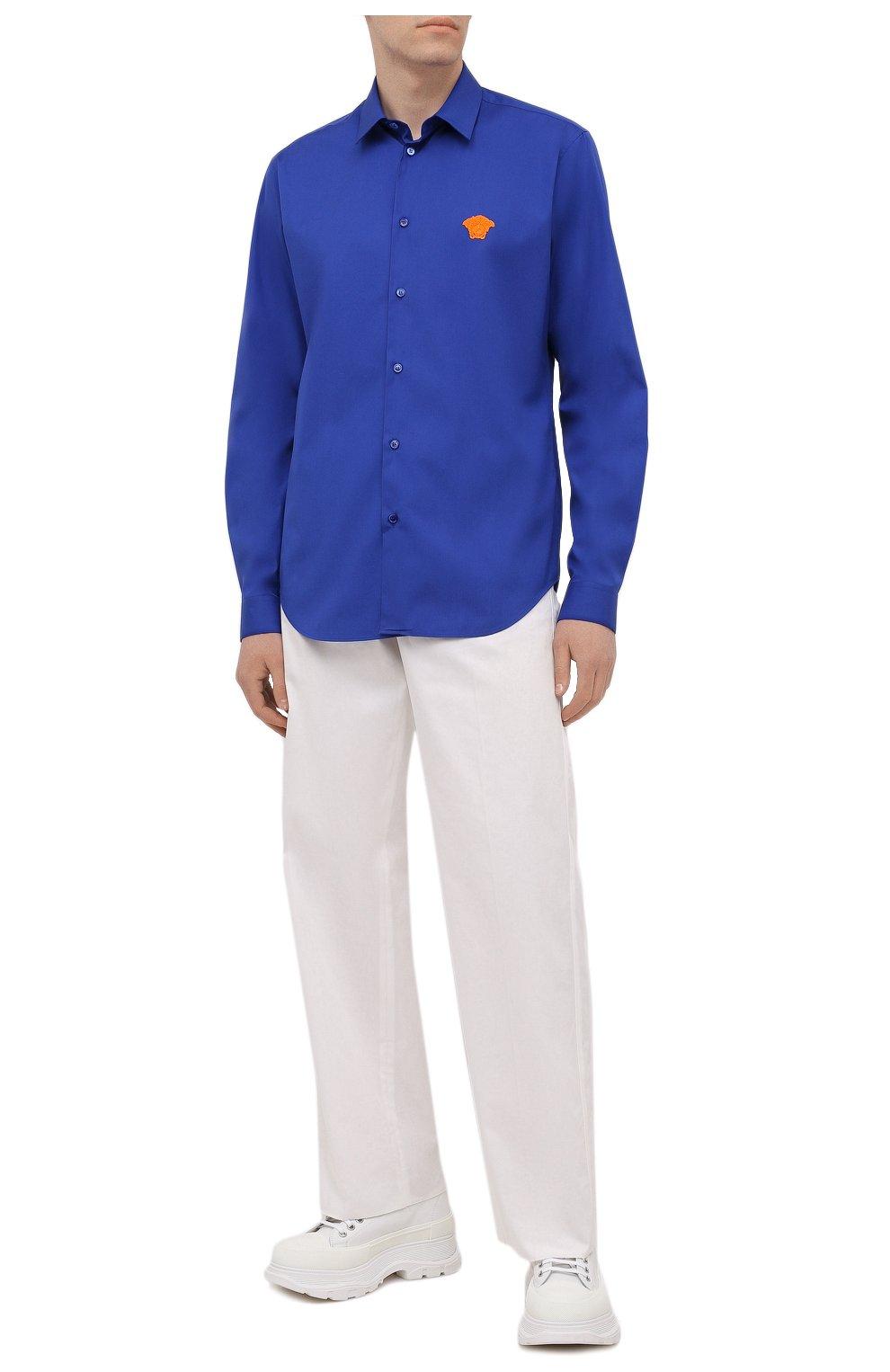 Мужская хлопковая рубашка VERSACE темно-синего цвета, арт. A89273/A232105 | Фото 2