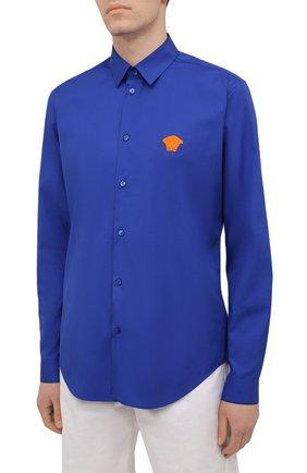Мужская хлопковая рубашка VERSACE темно-синего цвета, арт. A89273/A232105 | Фото 3