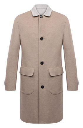 Мужской двустороннее кашемировое пальто BRUNELLO CUCINELLI бежевого цвета, арт. ML4549947 | Фото 1 (Материал внешний: Шерсть, Кашемир; Мужское Кросс-КТ: пальто-верхняя одежда; Рукава: Длинные; Стили: Кэжуэл; Длина (верхняя одежда): До середины бедра)