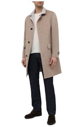 Мужской двустороннее кашемировое пальто BRUNELLO CUCINELLI бежевого цвета, арт. ML4549947 | Фото 2 (Материал внешний: Шерсть, Кашемир; Мужское Кросс-КТ: пальто-верхняя одежда; Рукава: Длинные; Стили: Кэжуэл; Длина (верхняя одежда): До середины бедра)