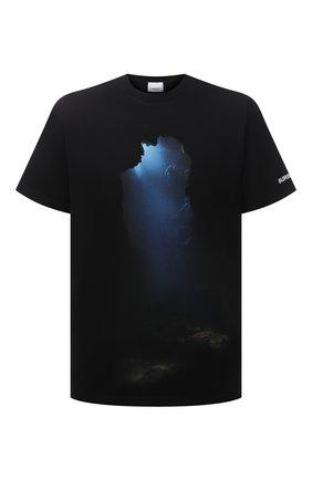 Мужская хлопковая футболка BURBERRY черного цвета, арт. 8040684 | Фото 1 (Рукава: Короткие; Принт: С принтом; Материал внешний: Хлопок; Длина (для топов): Стандартные; Стили: Кэжуэл)
