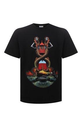 Мужская хлопковая футболка BURBERRY черного цвета, арт. 8040683 | Фото 1